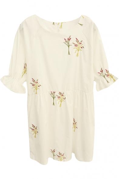 Wild Flower Embroidered Ruffle Cuff White Babydoll Dress