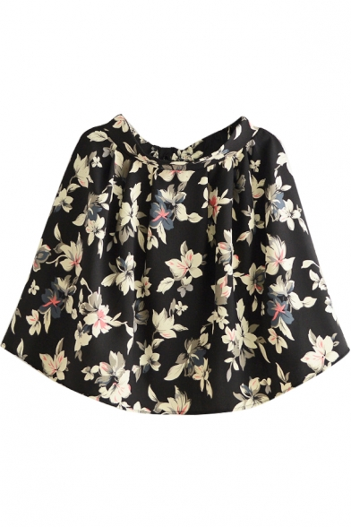 Black Background White Flower Short A-line Skirt