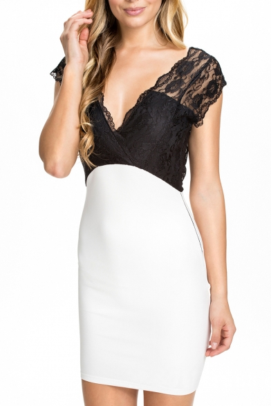 Lace Crochet V-Neck Sleeveless Open Back Fitted Dress