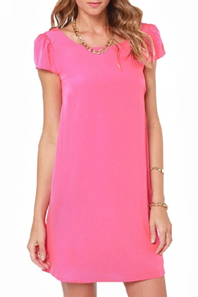 Pink Chiffon Round Neck Strappy Back Dress
