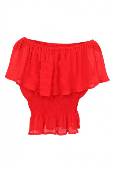 Red Ruffle Layer Off-the-Shoulder Elastic Waist Chiffon Blouse