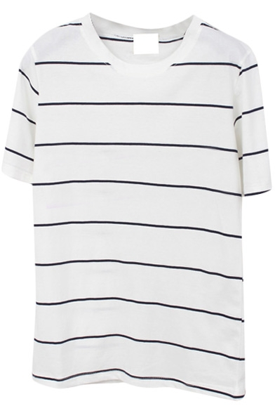 Thin Stripe Short Sleeve Basic T-Shirt