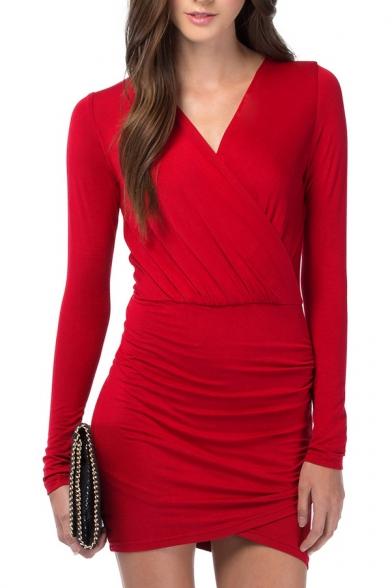 Red V-Neck Wrap Long Sleeve Dress
