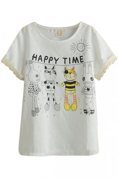 White Short Sleeve Lace Trim Cartoon Rabbit Print Cute T-Shirt