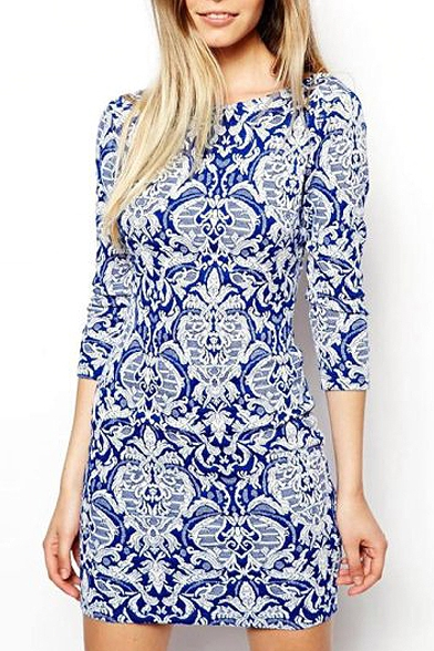 Blue And White Porcelain Print 3 4 Sleeve Shift Dress