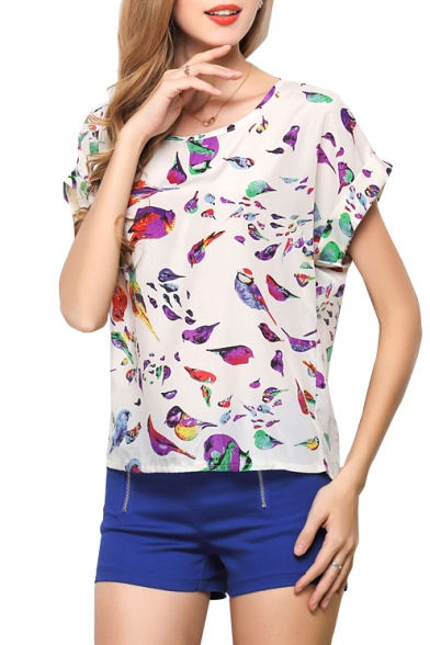White Short Sleeve Bird Print Chiffon Top