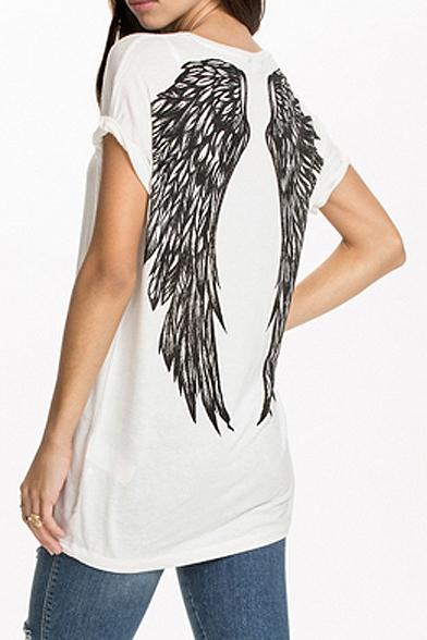 White Short Sleeve Wing Print Back Tunic T-Shirt