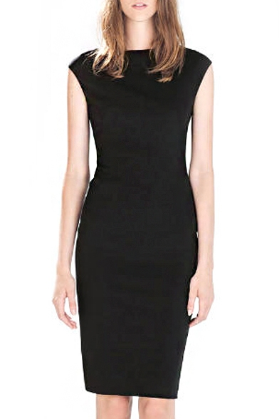 89bc01f2e8f8 Plain Boat Neck Sleeveless Fitted Midi Dress - Beautifulhalo.com