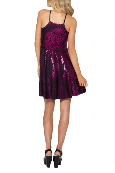 Plum Pattern Geometric Dress Slip Shining Gilding line A vvqwBPr