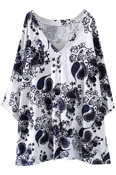 White Background Porcelain Pattern Print V-Neck Loose Dress