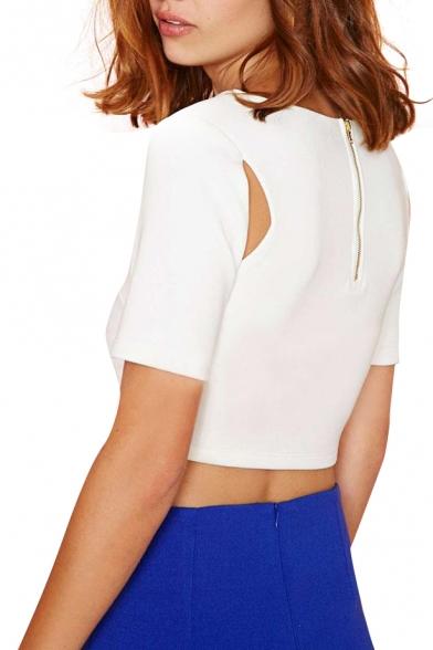 White Short Sleeve Cutout Detail Zipper Back Crop Top
