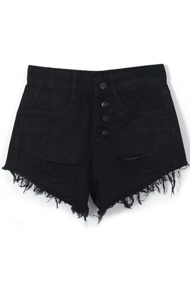 Black Denim Four Button Front Ripped Shorts