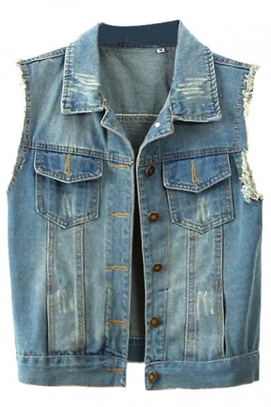 Blue Sleeveless Double Pocket Frayed Cuffs Denim Jacket