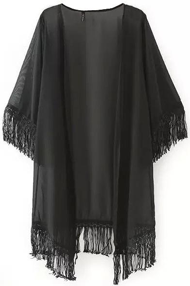 Plain 3/4 Sleeve Batwing Tunic Kimono with Tassel Hem