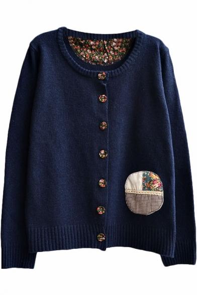 Preppy Look Vintage Embroidered Cloth Panel Round Neck Cardigan
