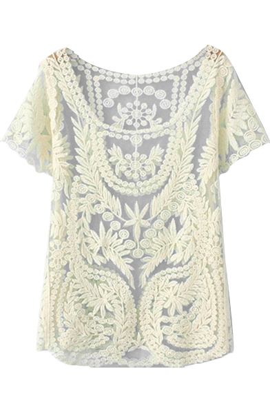 White Short Sleeve Flora Lace Cutout Blouse