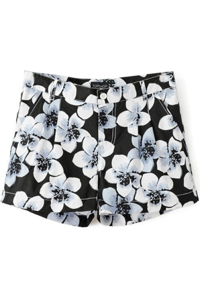 Black Floral Print Pleated Zippered Fitted Shorts