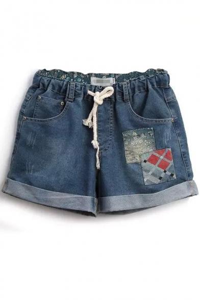 Blue Mori Girl Appliques Denim Shorts
