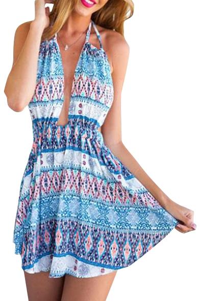 7f516b33e2 Ethnic Print Halter Open Back Beach Dress - Beautifulhalo.com
