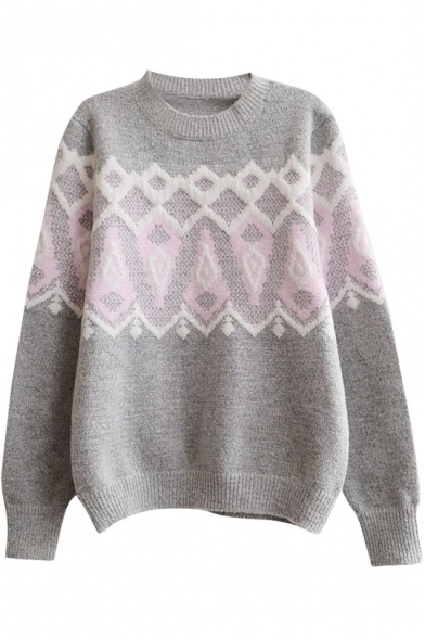 Geometric Jacquard Round Neck Long Sleeve Wool Blend Sweater