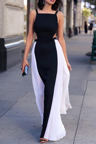 Mono Strap Cutout Back Maxi Chiffon Dress