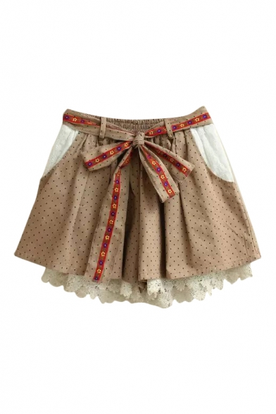 Polka Dot Lace Crochet Elastic Waist Belted Culottes