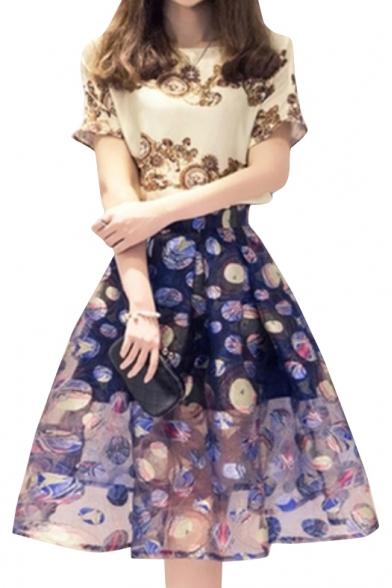 Round Neck Patchwork Glitter Bodycon Dresses hawaiian print china