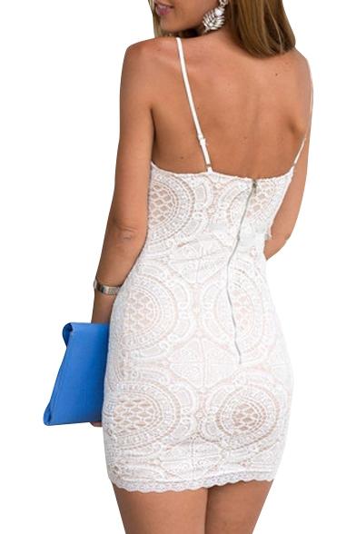 3e7c108ae96 White Lace Crochet Spaghetti Strap Bodycon Dress - Beautifulhalo.com
