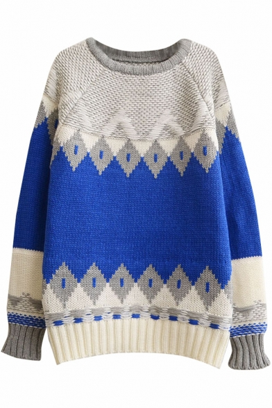 Color Block Raglan Sleeve Geometric Jacquard Round Neck Sweater