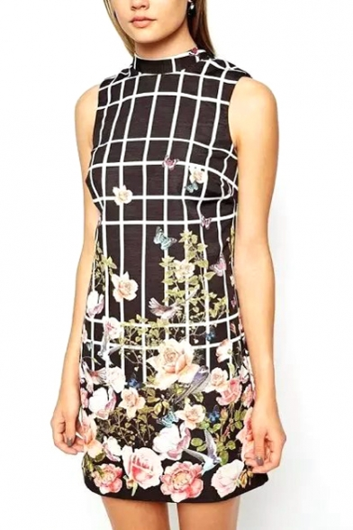 Plaid Flower High Collar Back Cutout Dress