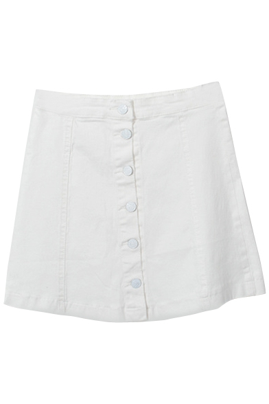 White Button Front Plain Short Denim Full Skirt