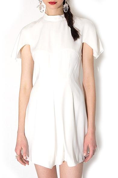 White Vintage Stand Collar Split Short Sleeve Sleeve Mini Dress
