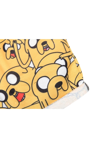 Adventure Time Theme Print Sports Shorts with Drawstring Waist