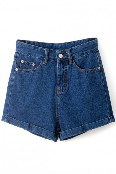 Blue High Waist Vintage Roll Cuff Denim Shorts