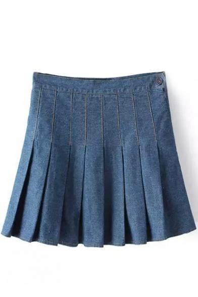 Blue Side Zipper Pleated Denim Mini Skirt - Beautifulhalo.com