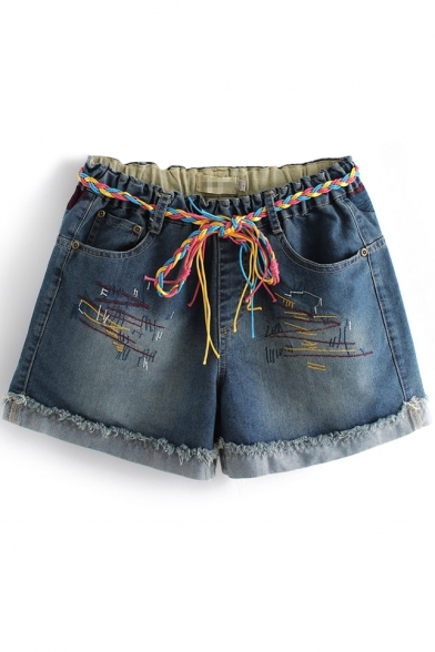 Dark Blue Distressed Roll Cuff Embroidered Pattern Denim Shorts