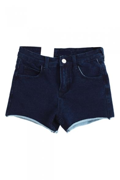 Dark Wash Skinny Denim Zipper Fly Shorts