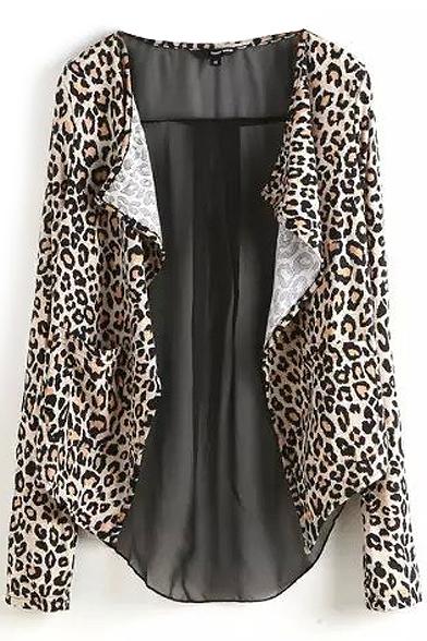 Leopard long sleeve waterfall uBn0S