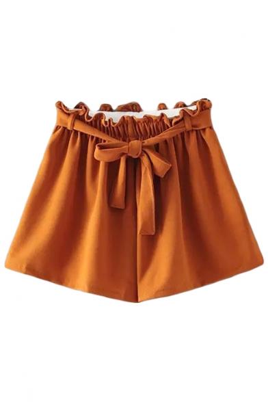 Plain Elastic Drawstring High Waist Wide Leg Shorts ...