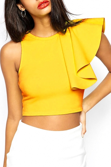 Yellow Cropped Zip Back Top with Ruffle Sleeve