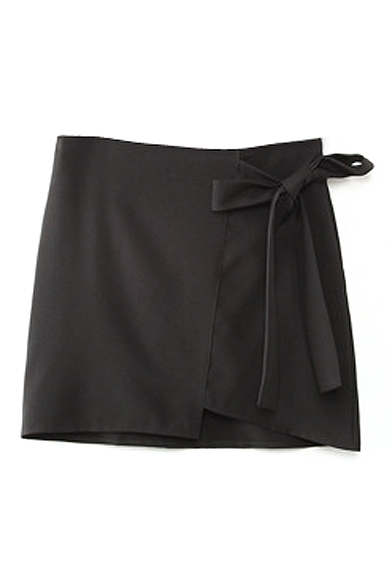 Black Bow Tie Front Mini Skirt with Asymmetrical Hem