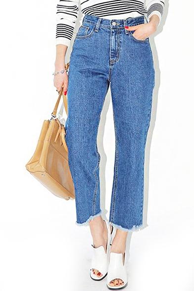 Blue High Waist Cropped Wide Leg Jeans - Beautifulhalo.com