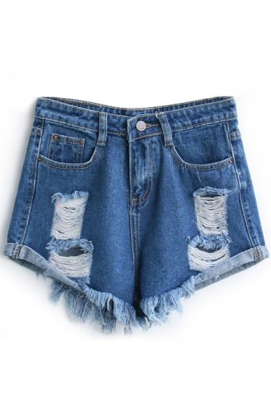Dark Blue Loose Ripped Cuffed Denim Shorts - Beautifulhalo.com