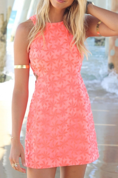 Orange Sleeveless Flora Lace Slim Mini Dress