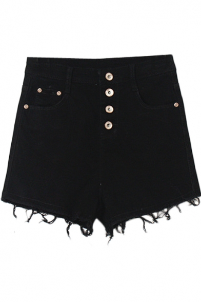 Plain High Waist Cut Off Hem Denim Shorts with Button Details