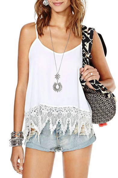 White Lace Flower Hem Camis