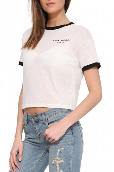 White Short Sleeve Black Trim Letters Crop T-Shirt - Beautifulhalo.com