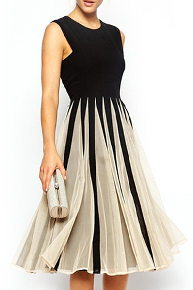 Black&White Block Fan Pattern Sleeveless Midi Dress