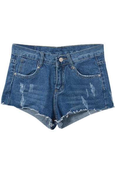 Dark Blue Mid Waist Distressed Denim Shorts