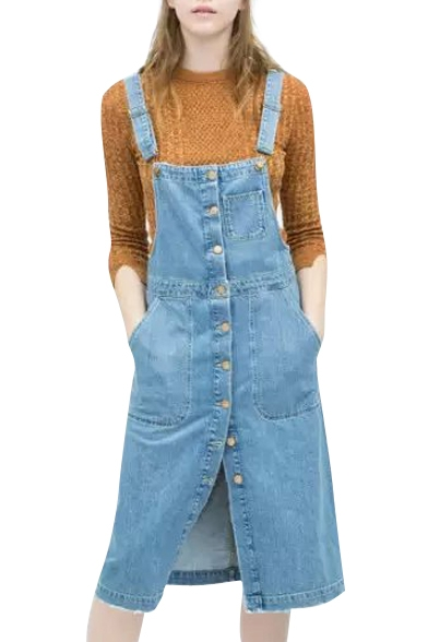Denim Button Fly Overall Dress with Pockets
